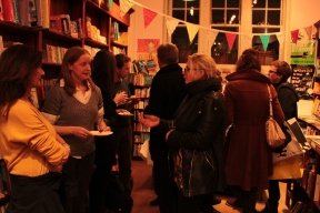 eating cake at the meet the author event at Daunts Hampstead